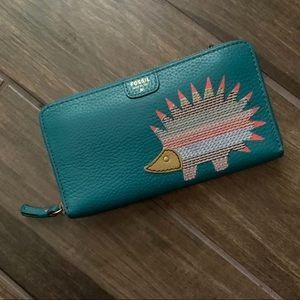 Fossil Teal Leather Hedgehog Zip Wallet Clutch